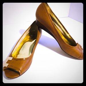 Michael Kors Open Toe Leather Slip On Size 8.5